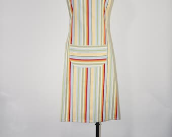 candy striped apron / handmade chef apron / cotton kitchen apron