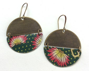 Upcycled Round Tin Earrings, Asian Floral, Lightweight, Bronze Tone Findings, Large Half Disk