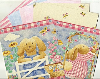 Pink and Blue Rabbit Wallpaper Pack for Card Making, Hang Tags, Collages, Scrapbooking, Paper Arts, Journals and MORE - 44 Pieces PSS 2838