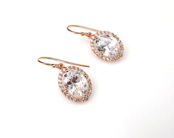 bridal earrings wedding jewelry bridesmaid gift prom clear white cubic zirconia rose gold simple oval halo drop rose gold filled fish hook