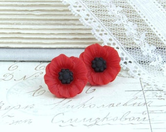 Red Poppy Stud Earrings Red Flower Studs Red Poppy Earrings Hypoallergenic Red Poppy Jewerly Red Flower Studs