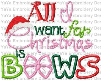 All I Want For Christmas embroidery design