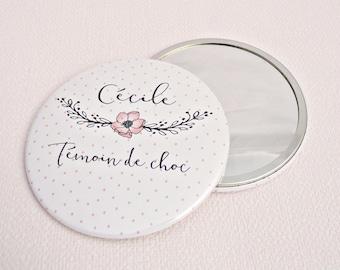 "Mirror personalized wedding 7.5 cm / + name ""Witness charm"""