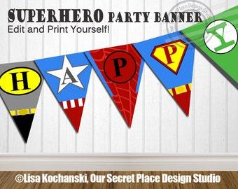 INSTANT DOWNLOAD Editable Superhero Birthday Banner Super hero Banner Superhero Banner Super hero Birthday Party Superhero Birthday Party