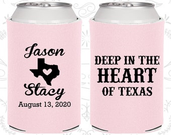 Deep in the Heart of Texas, Personalized Wedding, Texas Wedding Favors, Texas Gifts, Custom Can Coolers (214)