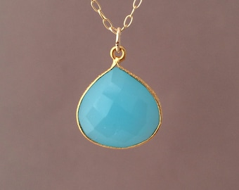 Gold Blue Chalcedony Teardrop Necklace Long or Short