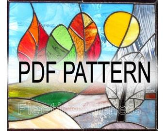 PDF Pattern for Stained Glass - Change of Seasons FleetingStillness Original Design