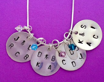 Mom, Grandma Stamped Necklace with Initials and Birthstones in Sterling Silver
