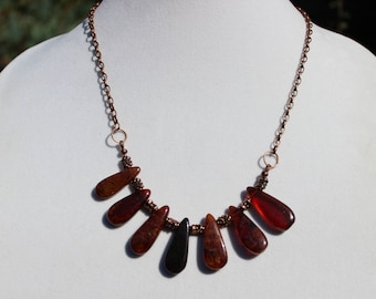Hessonite Garnet Necklace, Antique Copper Chain Necklace, Boho Necklace, Gemstone Necklace, Statement Necklace