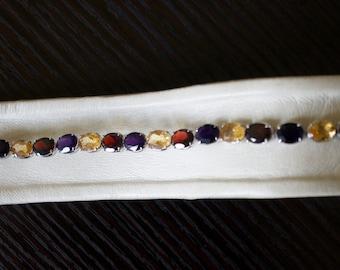 Exquisite Garnet, Amethyst, Yellow Topaz Silver Bracelet