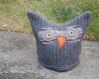 Upcycled Wool Felted Owl Hat