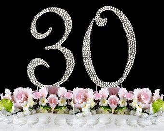 New Large Rhinestone NUMBER (30) Cake Topper 30th Birthday Party with 1 day express shipping