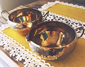 Vintage Brass Cream and Sugar Serving set