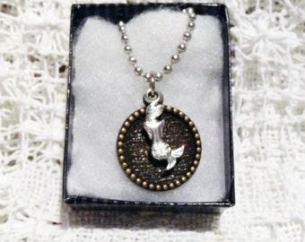 Mermaid Necklace, Mermaid Jewelry, Silver Mermaid Charm, Silver Mermaid Pendant, CALYPSO MERMAID NECKLACE, Love Story of Davy Jones Locker