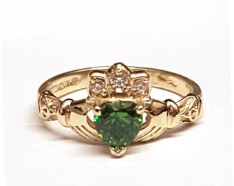 Claddagh Ring with Birth Stone in 14ct gold
