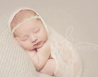Creme Chantilly - CHOOSE White or Ivory - Lace Pearls Halo Headband - Baby Infant Newborn Girls Adults - Wedding Baptism
