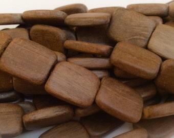 Natural wood beads, graywood beads 15x20 rectangle