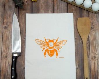 Honey Bee Flour Sack Tea Towel
