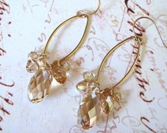 Crystal Golden Shadow Earrings, Swarovski Earrings, Teardrop Earrings, Bling Earrings, Statement Earrings, Dangle Earrings, Hoop Earings