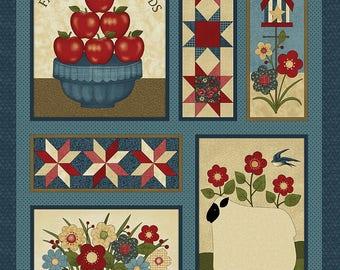 "Liberty Hill Americana  Quilt Fabric Panel 24"" x 44"""