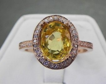 AAA Citrine   10x8mm  3.03 Carats   in a 14k ROSE gold ring with diamonds (.32ct) Ring 1135