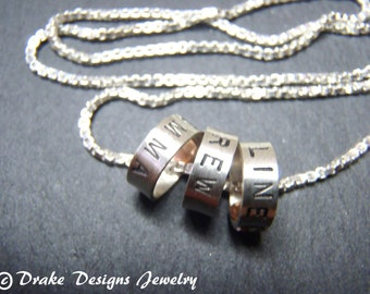 Three 3 name necklace with kids names mother's necklace with childrens names