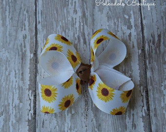 Sunflower Toddler Bow 3 Inch Alligator Clip Baby Hairbow Fall Harvest Bow Sunflower Baby Bow Sunflower Bow