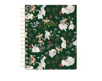 Small Spiral Notebook, Bunnies Journal, Green Notebook, Woodland Animal Notebook, Animal Journal, White Bunny, Cute Notebook, Mum Gift
