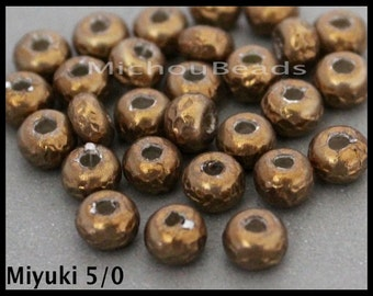 25 - 5/0 MIYUKI Baroque Pearls - Round Opaque Antiqued Brass Miyuki Glass Seed Bead - 5.5mm Seed w/ 1.5mm Hole - DIY Wholesale - 6892