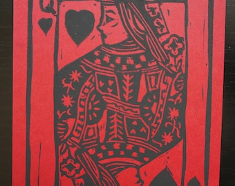 Queen of Hearts - block printed postcard
