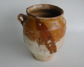 French Antique Confit Pot, Rustic French Pot, Terrocotta and Yellow Glaze