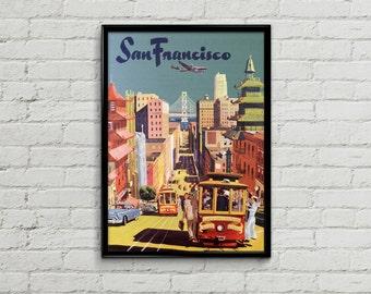 San Francisco poster. San Francisco print. San Francisco art. Travel poster illustration. Wall art print. Prints illustration art California