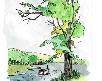 Original Pen and Ink Drawing with Watercolor Wash / Steamboat on the River