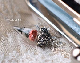 Peach Coral Rose Flower Glass Vial Terrarium Necklace by Woodland Belle
