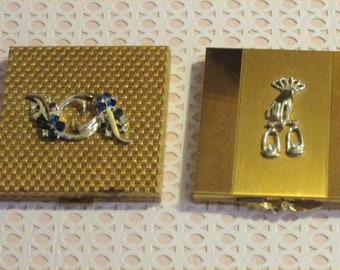 Vibrant VOLUPTE Vintage Compact Lot w/ JEWELED Designs ~Glitzy Gold 1950s Vanity Case Duo w/ Rhinestones ~Big & Bold Compacts ~Great Shape!