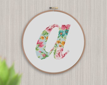 """BOGO FREE! Letter Cross Stitch Pattern, Letter """"a"""" Silhouette Flowers Counted Cross Stitch Chart, Modern Decor, PDF Instant Download #025-18"""