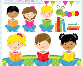 Reading Time Cute Digital Clipart for Commercial or Personal Use, Kids Reading Clipart, Reading Graphics, School Clipart