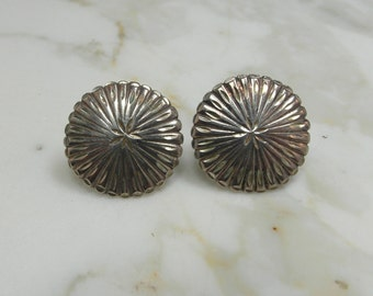 Very Simple Beautiful Southwestern Design Button Sterling Silver Post Back Earrings