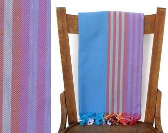 Turkish Beach Wrap Cotton Towel Handwoven Towel Turkish Fouta Beach Wrap Spa Yoga Towel Shawl Blanket Pareo Aqua Purple SURFER PESHTEMAL