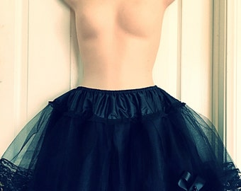 "Handcrafted 16"" 3 & 4 Layers Black Gothic Lolita Tutu Skirt"