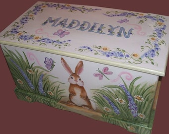 Custom bunny toy box,  kids furniture, hand-made, hand painted wooden toy box, wooden chest