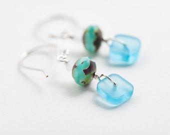Sea Glass Earrings, Blue Sea Glass Earrings, Blue Sea Glass, Frosted Glass Earrings, Blue Silver Earrings, Beach Earrings, Summer Jewelry