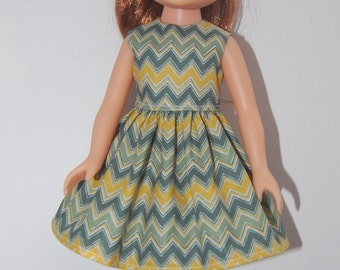 "Green Chevron Dress Doll Clothes handmade Corolle 13"" Les Cheries or 14"" Heart for Hearts Sleeveless Dress tkct387 READY TO SHIP"
