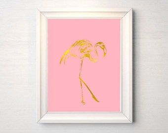 Printable art Digital Prints Wall art  Home decor faux Gold foil print pink gold flamingo printable art, printable prints