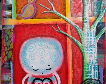 """Original painting whimsical quirky mixed media Love Song 8x10"""" oddimagination"""
