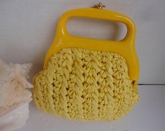 Dell Yellow Raffia Handbag