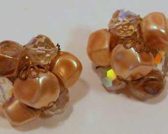VJE-0010-C,  Clip On Earrings with Light Amber and Acrylic Crystal Beads