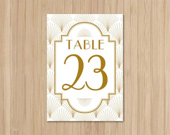 Instant Download - Art Deco Wedding - 5x7 Table Numbers - The Charleston - Gatsby Wedding