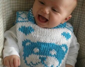 "FUNDRAISER - Reversible baby bib (""Teddy for Tots"") knitting pattern (PDF)"