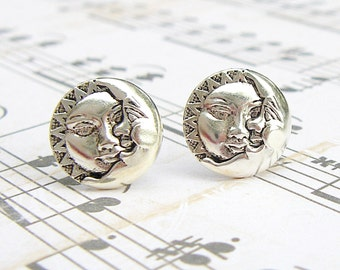 Celestial - antique silver post earrings